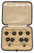 A set of Art Deco hexagonal onyx and diamond set cufflinks and matching dress studs