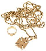 A Victorian gold, ladies long guard chain,
