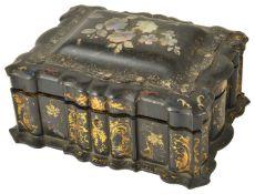 A Victorian papier mache writing box,
