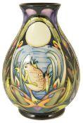 A contemporary Moorcroft Emma Bossons 'Shearwater Moon' vase, circa 2005,