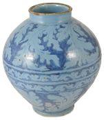 A large 17th/18th century Italian berrettino ground faience storage jar, probably Italian, the ovoid