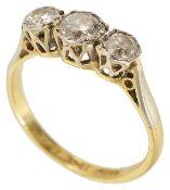 A three stone diamond set ring