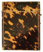 A tortoiseshell and silver card case, 19th century