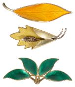 Three Scandinavian signed silver gilt and enamel brooches,