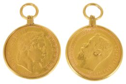 An 1899 Russian gold five ruble coin
