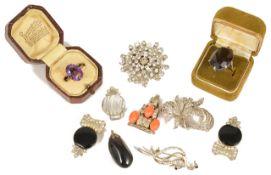 A large silver mounted smokey quartz dress ring,