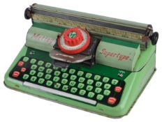 A 1950s Mettoy Supertype tinplate toy typewriter
