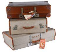 Three assorted vintage suitcases