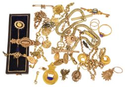 A good collection of Victorian gold earrings and other related jewellery,