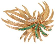 A Continental emerald and diamond set cocktail spray brooch