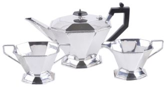 An Art Deco silver plated three piece tea set