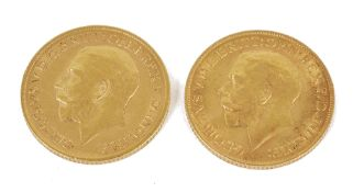 Two George V fine gold sovereigns