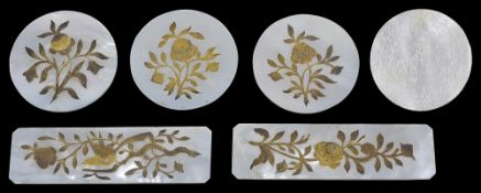 Six Chinese export mother of pearl and gilt decorated counters