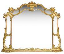An Italian style giltwood overmantel mirror, 19th century