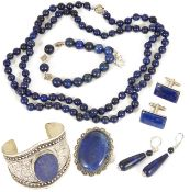 A small collection of contemporary lapis lazuli jewellery