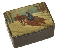 A small 19th century Russian papier mache snuff box