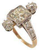 A large Art Deco diamond set ring,