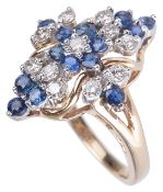 A contemporary sapphire and diamond shaped fancy cluster ring
