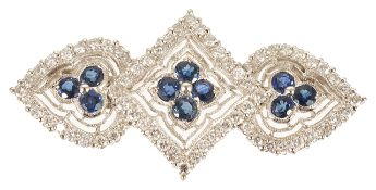 An attractive Victorian style sapphire and diamond set brooch/pendant