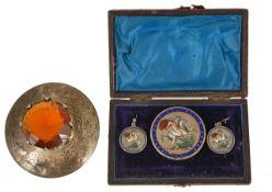 A George III enamelled silver brooch and earrings of crown design