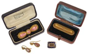 A Georgian pink paste canetille work brooch and similar drop earrings,