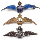 Two R.A.F. sweetheart brooches and a 'Victory' wings brooch
