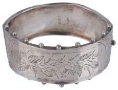 A Victorian silver hinged bangle