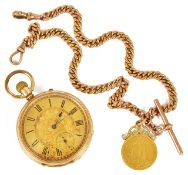A 14k gold open faced pocket watch, the gilt dial with roman hours, subsidiary seconds dial, togethe