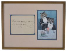 A Louis Wain postcard and written note
