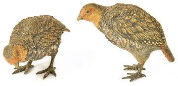 Two cold painted bronze quails, 20th century