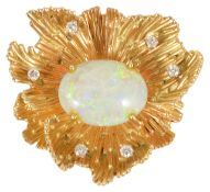 An impressive precious opal and diamond set floral cocktail brooch