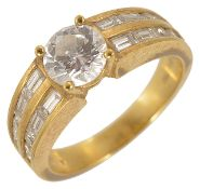 A Continental brilliant and baguette diamond set fancy ring