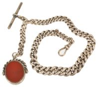 A large, heavy Victorian silver gentleman's watch Albert chain and fob