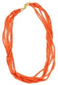 An attractive five row red coral bead necklace choker