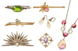 A small collection of Victorian and later mixed jewellery,