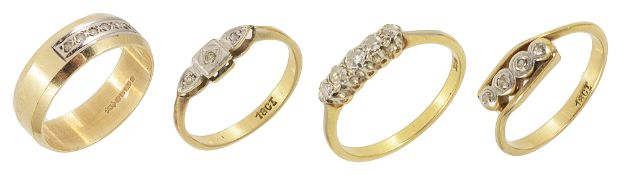 A delicate five stone diamond set ring and three other diamond rings,