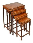 A nest of four Chinese hardwood graduated side tables, early 20th century