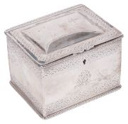 A Victorian silver tea caddy, hallmarked Sheffield 1860of rectanuglar form with hinged domed top lid