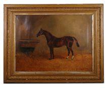 H. Whittaker Reville (British fl.1881 - 1903) 'Chestnut hunter in stable', oil on canvas