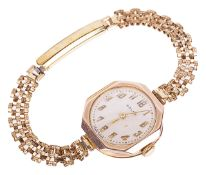 A Rolex 9ct gold ladies wristwatch,the circular dial with arabic hours and tapered hands in a