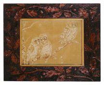 A 1920s carved oak framed velvet picture of three owls the velvet