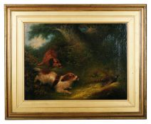 Edward Armfield (British 1817 - 1896) 'Terriers chasing a pheasant' oil on canvas, signed lower left