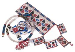 A collection of late 19th early 20th century native Zulu beadworkwoven in traditional colours and