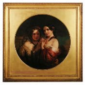 Early Victorian oil on canvas in the round 'Two girls'
