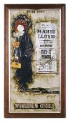 A Maw & Co majolica painted tile picture of the 'Chorus Girl'two tiles mounted in a frametotal