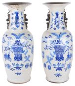 A pair of large late 19th century Chinese blue and white porcelain floor standing vases,the baluster