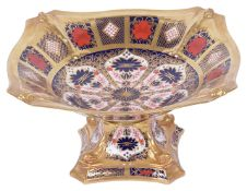 A Royal Crown Derby Old Imari pattern comport No 1128, of square form, of typical colourways