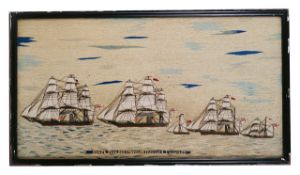 A sailors woolwork picture third quarter 19th century