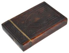A late 19th/early 20th century tortoiseshell card casewith unusual decoration of impressed pattern