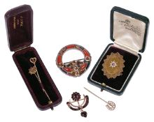 A Victorian 15ct gold ruby and pearl brooch and other Victorian jewellerythe oval 15ct gold brooch
